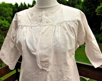Linen Dress - Antique Linen Chemise with bobbin lace - French Country