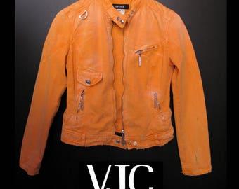 Authentic Versace Jeans Couture Orange Distressed Denim Jacket