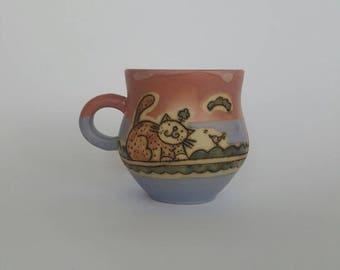 Cat mug, ceramic mug, tea mug, coffee mug, ceramic handmade stoneware mug, pottery mug, coffee handmade mug, wheel thrown mug, cat cup