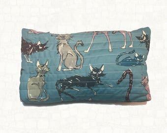 Quilted Zipper Pouch - Cat - Alexander Henry Fabric - 9 Ghastlie Lives - Makeup Bag
