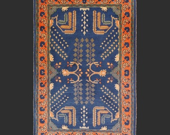 4.9 x 3.2 ft Persian rug 147 x 96 cm Loribaft blue carpet natural vegetable dyes