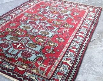 Natural Wool Vintage Rug, Red Turkish Oushak Rug - Worldwide Free Shipping