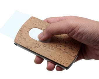 Thumb slide Business Cards Case lined with cork