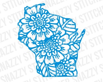 Wisconsin Flower Outline svg. cut file. WI