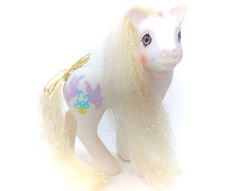 G1 My Little Pony Bride Ring Cake Comb Veil Ribbon Bow Doves White Long Leg Sweetheart Sister Tinsel Hair Original 80s 1987 Mint Retro Rare