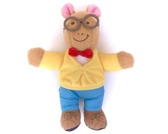 "Vintage Arthur 1996 Playskool Plush Soft Doll Talking Interactive 8"" PBS Marc Brown Plushie Stuffed Aardvark Glasses 90s Cartoons TV Show"