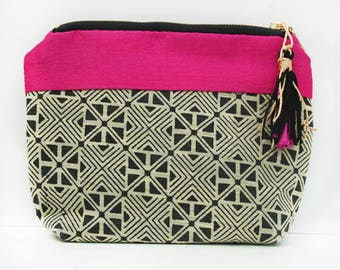 Cotton and silk cosmetic pouch with waterproof lining