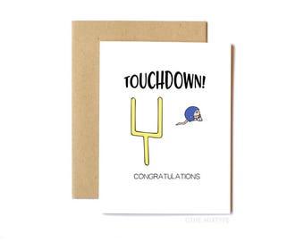 Funny Pregnancy Card, Congratulations - Touchdown