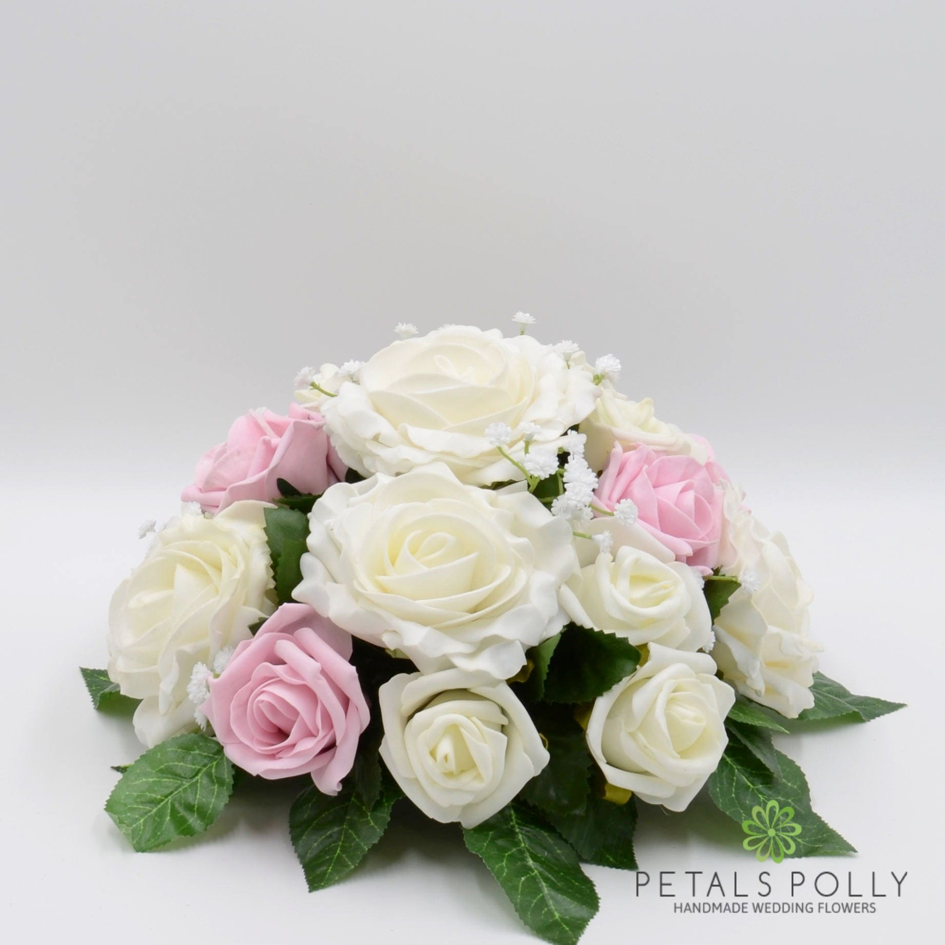 Silk Wedding Flowers Antique Pink Ivory Rose Table Centre
