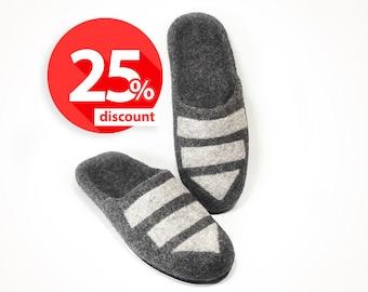 Wool men slippers Grey - Shoes handmade house slippers - Home felted wool slippers - Home men shoes