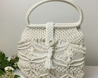 70's Macramé Cream Handbag