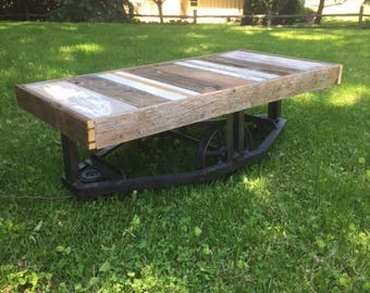 Industrial Cart Coffee Table - (local sale delivery only)