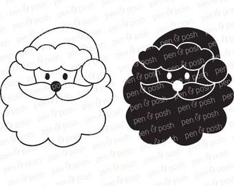 Santa SVG - Santa Face SVG - Santa Claus SVG - Santa Cut File - Santa Clipart - Christmas Svg - Santa Silhouette - Christmas Cut File