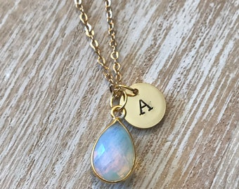 Birthstone Initial Necklace, October Birthstone Pendant, Personalized Gemstone Necklace, Custom Birthstone jewelry, mom necklace, opal