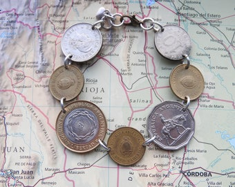Argentina bicolor coin bracelet - flat/curved - made of original coins - sun - horse - South America
