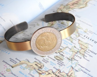 Philippines vintage coin cuff bracelet - 2 different designs - made of a original coins - gents bracelet
