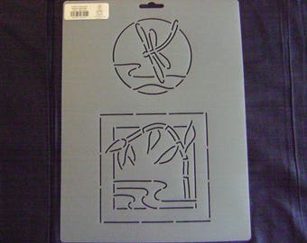Sashiko Japanese Quilting/Embroidery Stencil 4 in. Dragonfly and 5 in. Bamboo over Water Motif Block/Quilting
