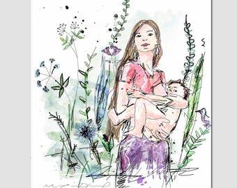 """Breastfeeding"" Print / Illustration / MOM, baby, nature, plants / baby room, decor / 5 x 7 or 8 x 10"