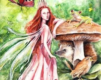 Faerie Queen, original watercolour illustration, 22cm x 30cm