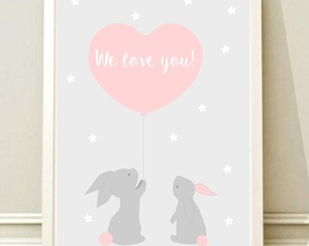 Nursery Wall Art Print, Kids Art Print Instant download, Animal Nursery Print, Digital Nursery Decor, Bunny poster, Printable,Kids room