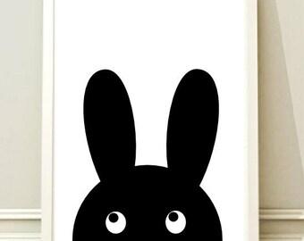 Nursery Wall Art Print, Kids Art Print, Printable Nursery Print, Modern Nursery Decor, Bunny poster, Kids room,Instant download