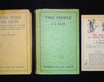 Two AA MILNE 1st Edition Books - Two People and Those Were the Days with a Winnie-the-Pooh Advertising Sheet