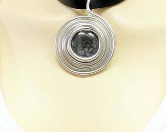 Leather And Silver, Leather And Silver Pendant Necklace, Silver And Glass, Silver And Glass Pendant, Big Pendant, Black Leather Pendant,