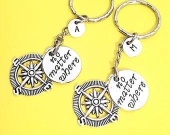 Best friends keychain - set of Two, bff charm,  bff keychain, set of 2 best friend,customized keychain,monogram,initial keychain, bff gift