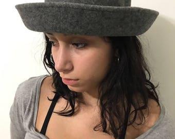 Vintage Bucket Grey Hat Winter Wool Hat Women's Hat