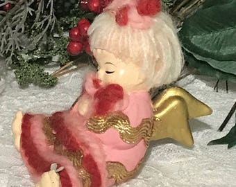 Adorable Angel Miniature Collectible Ceramic Doll Antique Angel Made in Japan 50s Vintage