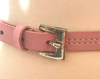 Vintage Thin Belt Pink Color With buckle in silver color. Fit X Small and Small waist.