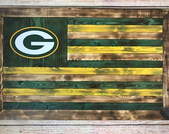 Green Bay Packers wooden flag - ready to hang - Customizable