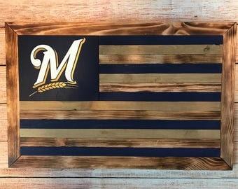 Milwaukee Brewers wooden flag - customizable