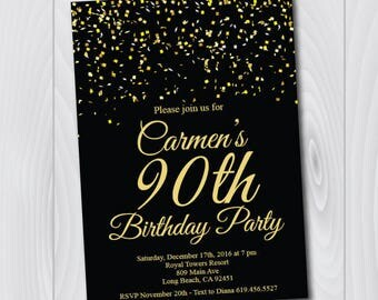90th Birthday Invitation/Printable Gold & Black Birthday Invitation/e-card invitation/Template/Birthday Invitation/ninetieth birthday
