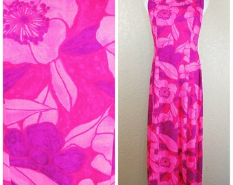 Gorgeous Vintage Edna Oliver Hawaiian Maxi Tiki Dress