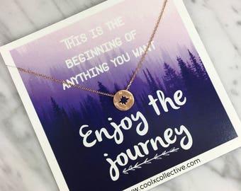 Compass necklace, grad gift, graduation gift, travel, wanderlust, enjoy the journey, promotion, new job, grad school, inspirational gif