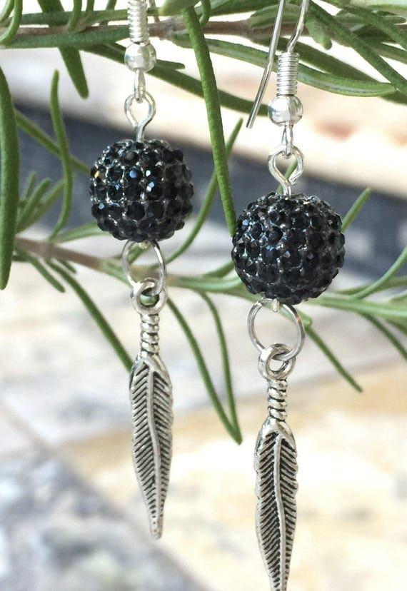 Black Jet Pave Crystal Earrings, Silver Feather Charm, Black Dangle Earring,  Boho Pave Drop Earrings, Pave Dangle Earrings, Silver EarWires