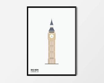 Big Ben, Colour, London Print | London Artwork | London Illustration | Architecture Print | City Print