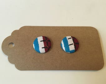 Print fabric button stud earrings