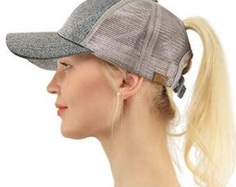 Glitter Ponytail cap, Glitter ponytail hat, Glitter cc cap, Glitter messy bun hat, Glitter messy bun cap, Monogram Hat