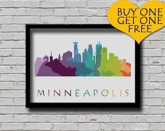 Cross Stitch Pattern Minneapolis Minnesota City Silhouette Watercolor Painting Effect Modern Embroidery Usa City Skyline Xstitch