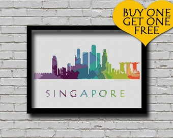 Cross Stitch Pattern Singapore City Silhouette Rainbow Watercolor Effect Modern Decor Embroidery City Skyline Xstitch E Pattern