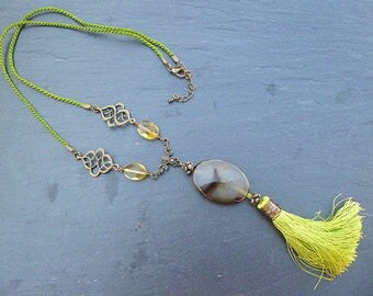 """Necklace """"Agathe you"""" green dyed jade"""