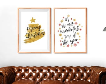 Set of Two Elegant Posters with Christmas Quotes in Golden Foil