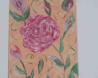 """""""Roses"""" acrylic painting on canvas Board (27 x 41 cm)"""