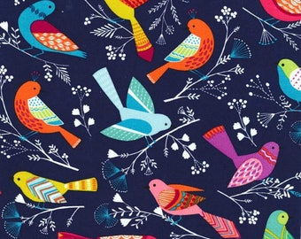 Michael Miller Fabric Flock Birds Navy (Pre-washed and pressed!)--Choose Your Cut