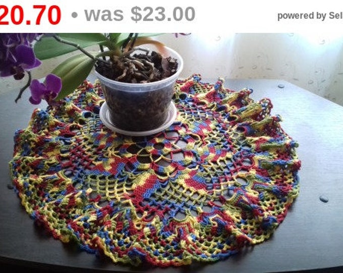 Knitted doily crochet. Openwork patterns. For home decor. Good gift for the woman. The decoration of your kitchen . Table decorations