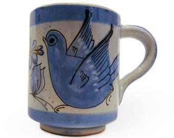 Ceramic Tonala Sal Mexico Bird Mug (Made in Mexico) Free Domestic Shipping