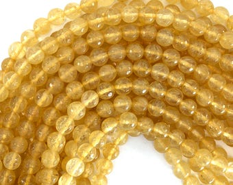 "8mm faceted pineapple quartz round beads 15"" strand 39218"