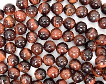 """10mm red tiger eye round beads 15"""" strand 38482"""